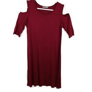 Loveappella Womens Tunic Dress Red Stretch Cold Sh